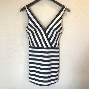 Zara Trafaluc black white stripe romper mini dress